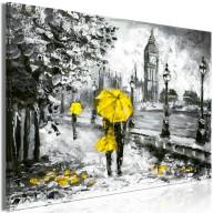 Obraz  Spacer w Londynie (1częściowy) szeroki żółty