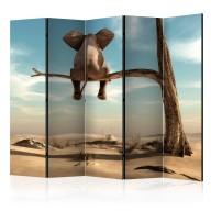 Parawan 5częściowy  Słoń na drzewie II [Room Dividers]