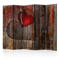 Parawan 5częściowy  Serce wyryte w drewnie II [Room Dividers]