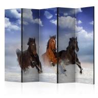 Parawan 5częściowy  Konie w śniegu II [Room Dividers]
