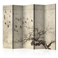 Parawan 5częściowy  Flock of birds II [Room Dividers]