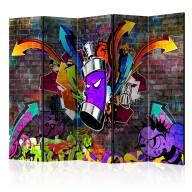 Parawan 5częściowy  Graffiti Kolorowy atak II [Room Dividers]