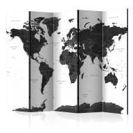Parawan 5częściowy  Czarnobiała mapa II [Room Dividers]