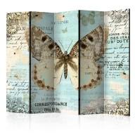 Parawan 5częściowy  Pocztówka z motylem II [Room Dividers]