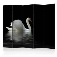 Parawan 5częściowy  łabędź (czarnobiały) II [Room Dividers]