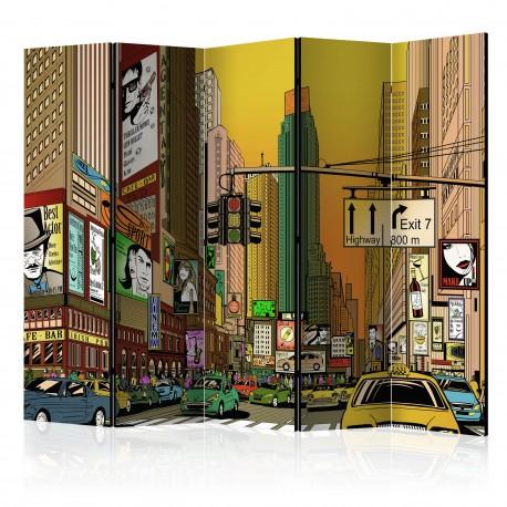 Parawan 5częściowy  Nowy Jork  miasto tętniące życiem II [Room Dividers]