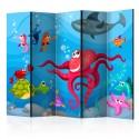 Parawan 5-częściowy - Ośmiornica i rekin II [Room Dividers]