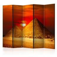 Parawan 5-częściowy - Piramidy w Gizie - zachód słońca II [Room Dividers]