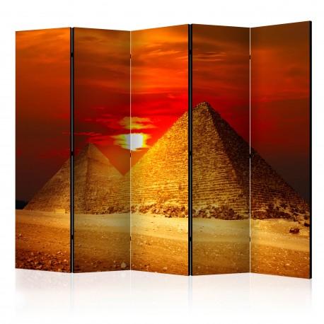 Parawan 5częściowy  Piramidy w Gizie  zachód słońca II [Room Dividers]