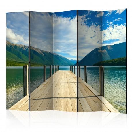 Parawan 5częściowy  Pomost na górskim jeziorze II [Room Dividers]