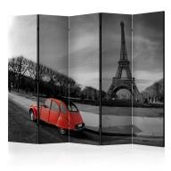 Parawan 5częściowy  Wieża Eiffla i czerwony samochód II [Room Dividers]
