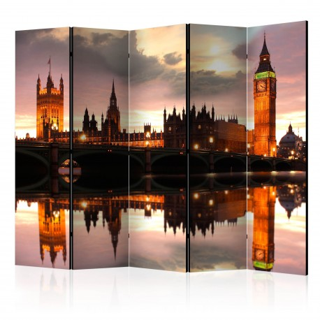 Parawan 5częściowy  Big Ben wieczorem, Londyn II [Room Dividers]