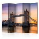 Parawan 5-częściowy - Świt ponad Tower Bridge II [Room Dividers]