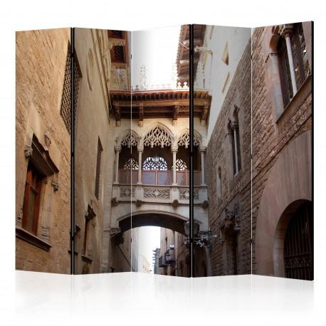 Parawan 5częściowy  Barcelona Palau generalitat in gothic Barrio II [Room Dividers]