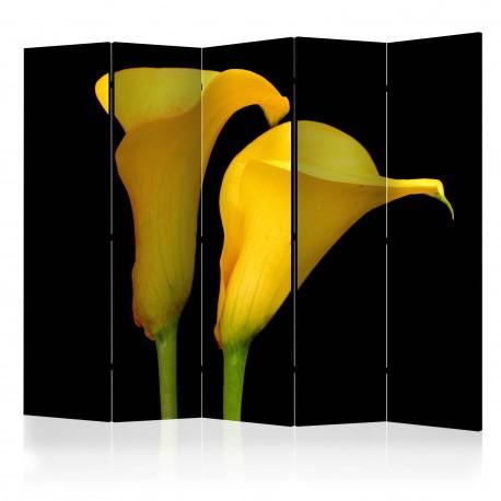 Parawan 5częściowy  Dwie żółte kalie na czarnym tle II [Room Dividers]