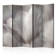 Parawan 5-częściowy - Tulip - black and white photo II [Room Dividers]